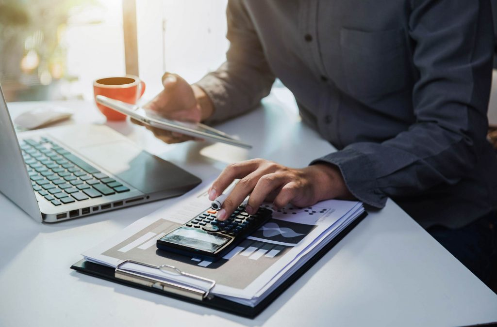 Accountant doing tax calculations